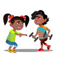 little girls and boys doing gymnastic exercises vector image vector image
