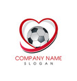 love soccer logo vector image vector image