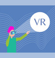 man in virtual reality glasses explore new world vector image