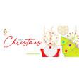 merry christmas cute design with santa claus fir vector image vector image