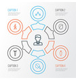 people outline icons set collection of social vector image