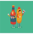 People wearing hot dog and bottle costume Fast vector image vector image