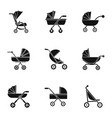 pram icon set simple style vector image vector image