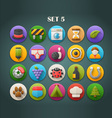 Round Bright Icons with Long Shadow Set 5 vector image vector image