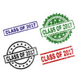 scratched textured class of 2017 stamp seals vector image