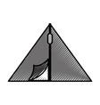 scribble camping tent cartoon vector image vector image