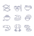 Seafood Icons Thin Line Style Flat Design vector image vector image