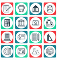 set of 16 school icons includes certificate home vector image vector image