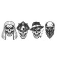 set of skull vector image vector image