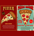 set poster template with pizza design element vector image vector image