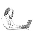 sketch of woman working on lap top using pen vector image vector image