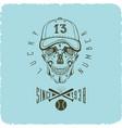 skull in baseball cap logo vector image