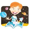 small boy with story book vector image vector image