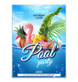 summer pool party tropical leaf flamingo vector image