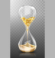 time is money hourglass with gold coins and sand vector image