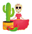 traditional katrina with cactus and chilli pepper vector image vector image