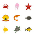 underwater animal stickers icons set flat style vector image vector image