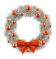 white christmas wreath decorated balls vector image vector image
