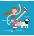 woman skateboarding with dog pet healthy athletic vector image