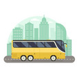 yellow city bus concept in flat design vector image