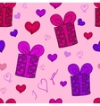 Seamless pattern with gift boxed and hearts vector image