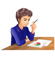 A boy thinking while taking an exam vector image vector image