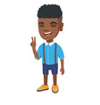 african little boy showing victory gesture vector image vector image