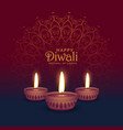 beautiful diwali greeting card design with three vector image vector image