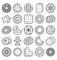biscuit icon set outline style vector image