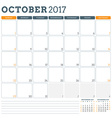 Calendar Planner Template for October 2017 Week