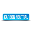 carbon neutral blue 3d realistic square isolated vector image