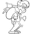 cartoon boy with a large backpack vector image vector image