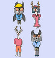 character design deer and owl vector image