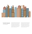 City landscape buildings flat background vector image