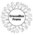 coloring page frame with funny crocodiles vector image vector image