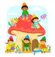 dwarfs in mushroom house vector image vector image