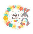 easter bunny happy card cute bunny vector image vector image