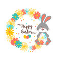 easter bunny happy easter card cute bunny vector image vector image