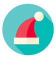 Flat Design Christmas Santa Hat Circle Icon vector image vector image