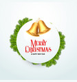 golden christmas bell with fir leaves for vector image