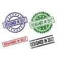 grunge textured designed in 2017 stamp seals vector image vector image