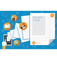 Hand and Tablet with Documents and Icons vector image vector image