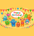 happy birthday monsters kids birthday party cute vector image vector image
