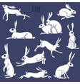 Hare silhouette set isolated on white background vector image vector image