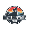 howling wolf camp logo best for outdoor activity vector image