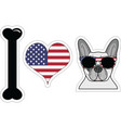 I love french bulldog with american symbols 2 vector image vector image