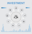 investment infographic with icons contains vector image vector image