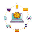 laptop online shopping coin ecommerce isolated vector image vector image