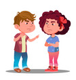 little boy and girl offended on each other vector image