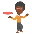 Man playing flying disc vector image vector image